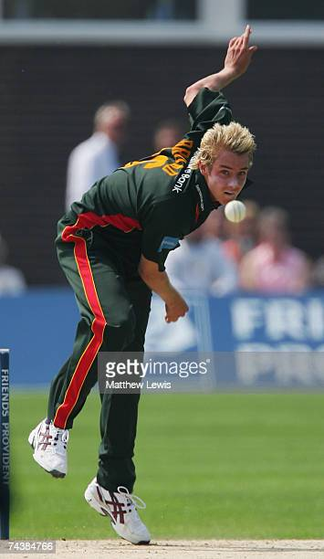 Stuart Broad of Leicestershire in action during the Friends Provident Trophy match between Leicestershire and Nottinghamshire at Oakham School on...