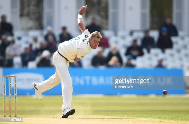 Stuart Broad of Nottinghamshire 2bowls during the Specsavers County Championship: Division One match between Nottinghamshire and Somerset at Trent...