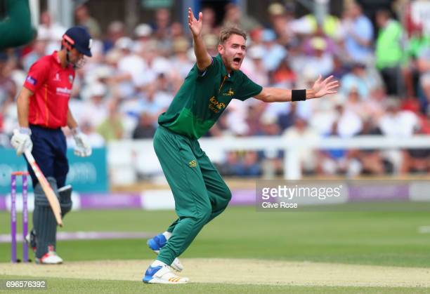 Stuart Broad of Nottinghamshire appeals unsuccessfully for the wicket of Alastair Cook of Essex during the Royal London OneDay Cup Semi Final between...