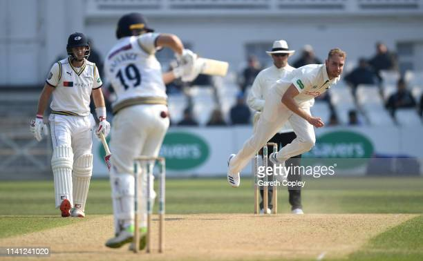 Stuart Broad of Nottinghamshire bowls at Gary Ballance of Yorkshire watched by Joe Root during Specsavers County Championship Division One match...