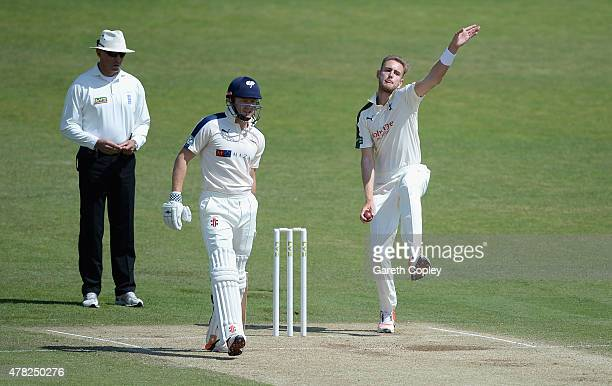 Stuart Broad of Nottinghamshire bowls during day three of the LV County Championship Division One match between Yorkshire and Nottinghamshire at...