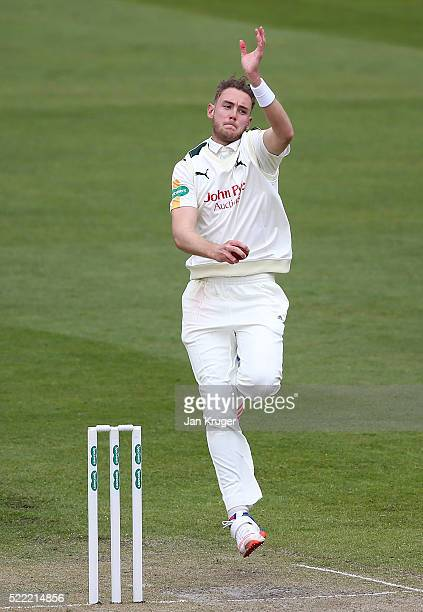 Stuart Broad of Nottinghamshire bowls during day two of the Specsavers County Championship Division One match between Lancashire and...