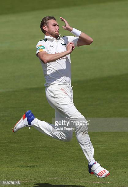 Stuart Broad of Nottinghamshire bowls during the Specsavers County Championship division one match between Nottinghamshire and Lancashire at Trent...