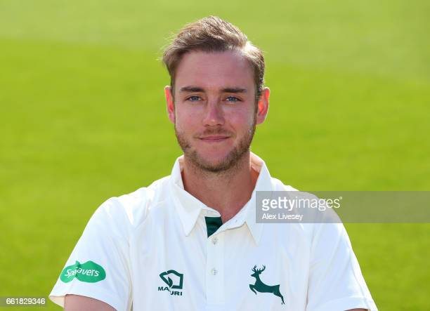 Stuart Broad of Nottinghamshire CCC poses for a portrait during the Nottinghamshire CCC Photocall at Trent Bridge on March 31 2017 in Nottingham...