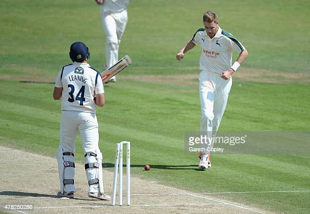 Stuart Broad of Nottinghamshire celebrates dismissing Jack Leaning of Yorkshire during day three of the LV County Championship Division One match...
