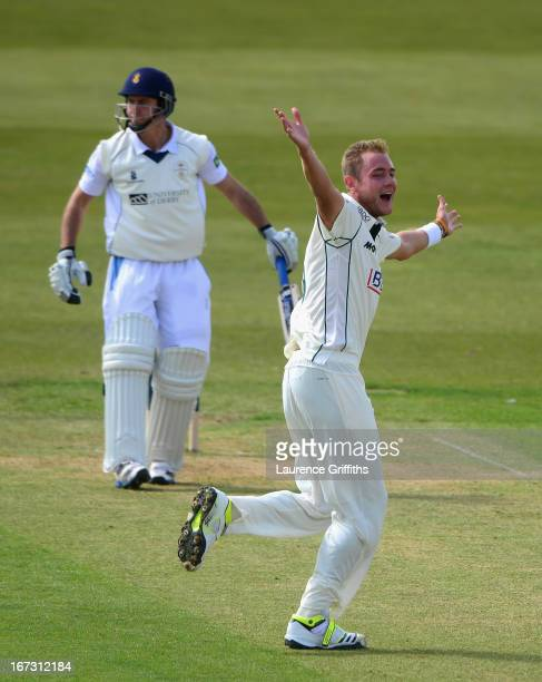 Stuart Broad of Nottinghamshire celebrates the wicket of Wayne Madsen of Derbyshire during day one of the LV County Championship division one match...