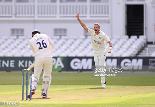 Stuart Broad of Nottinghamshire claims the wicket of Alastair Cook of Essex during the LV Insurance County Championship match between Nottinghamshire...
