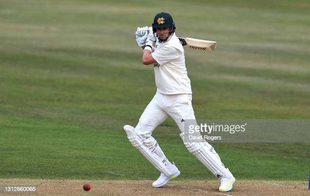 Stuart Broad of Nottinghamshire drives the ball to the boundary during the LV=Insurance County Championship match between Nottinghamshire and...