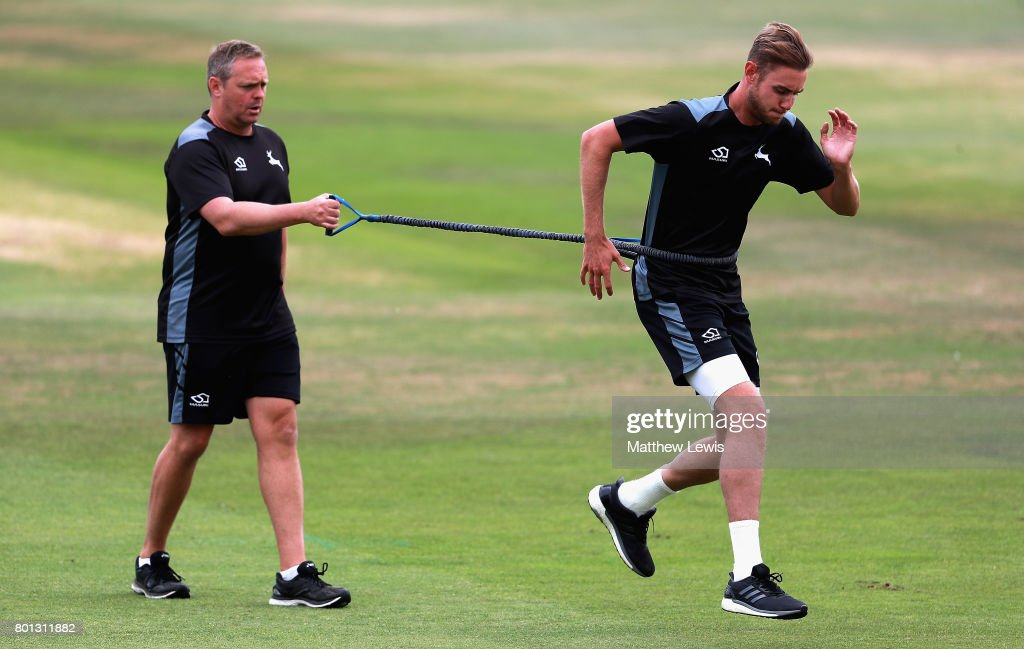 Stuart Broad of Nottinghamshire in action during a fitness test during the Specsavers County Championship Division Two match between Nottinghamshire and Kent at Trent Bridge on June 26, 2017 in Nottingham, England.