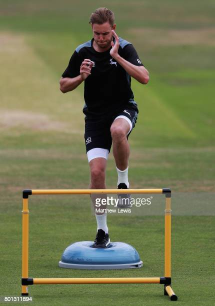 Stuart Broad of Nottinghamshire in action during a fitness test during the Specsavers County Championship Division Two match between Nottinghamshire...