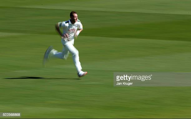 Stuart Broad of Nottinghamshire in action during day four of the Specsavers County Championship Division One match between Lancashire and...