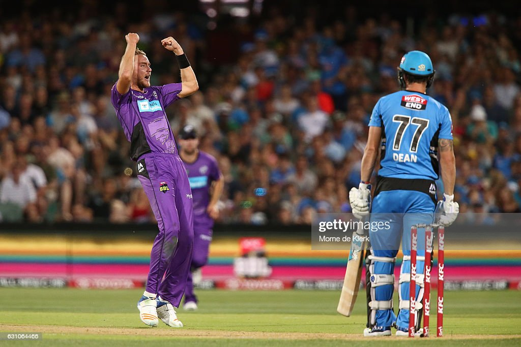 Stuart Broad of the Hobart Hurricanes celebrates after taking the wicket of Jono Dean of the Adelaide Strikers during the Big Bash League match between the Adelaide Strikers and the Hobart Hurricanes at Adelaide Oval on January 6, 2017 in Adelaide, Australia.