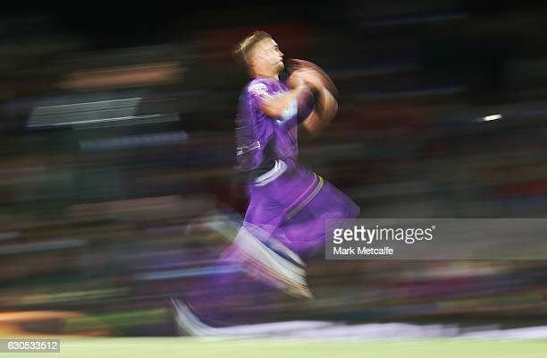 Stuart Broad of the Hurricanes bowls during the Big Bash League match between the Hobart Hurricanes and Sydney Stars at Blundstone Arena on December...