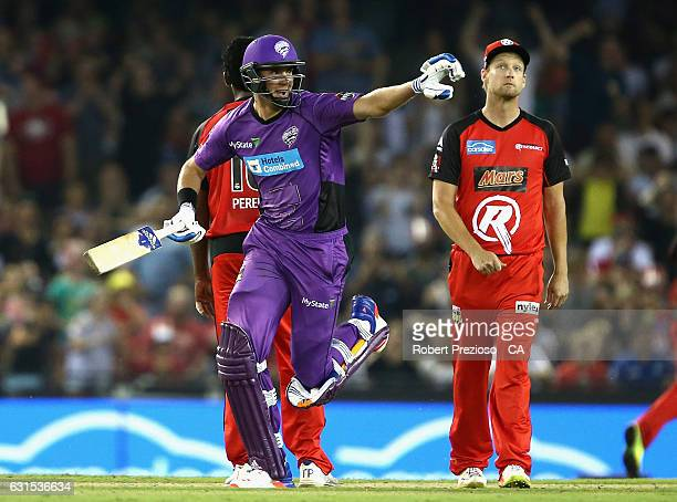 Stuart Broad of the Hurricanes celebrates after scoring the winning run during the Big Bash League match between the Melbourne Renegades and the...