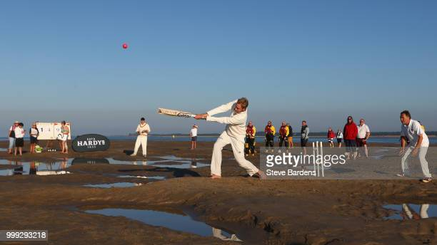 Stuart Broad plays for the Royal Southern Yacht Club against the Island Sailing Club during the Annual Bramble Bank Cricket Match 2018 supported by...
