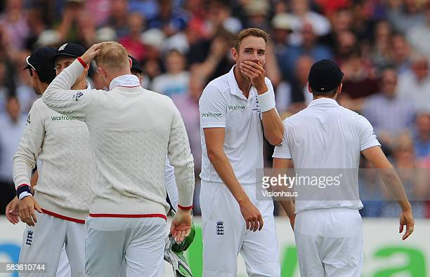 Stuart Broad shows his amazement at the stunning catch Ben Stokes produced to remove Adam Voges off Broad's bowling during the first day of the 4th...