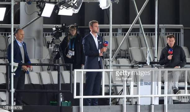 Stuart Broad works for Sky Sports alongside Nassar Hussain and Ian Ward during the 1st Royal London One Day International Series match between...