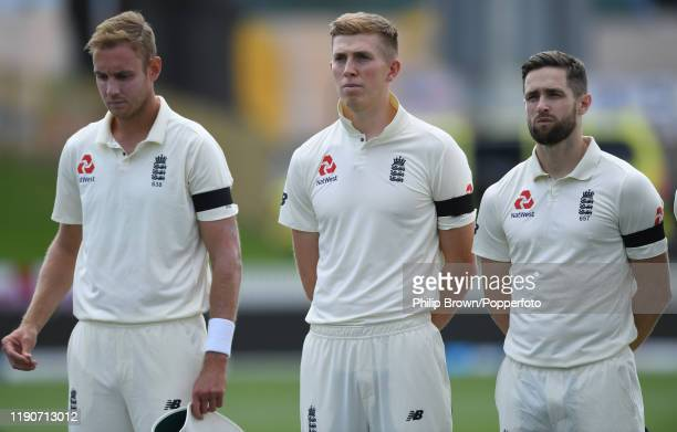 Stuart Broad Zac Crawley and Chris Woakes wait for the anthems before day 1 of the second Test match between New Zealand and England at Seddon Park...
