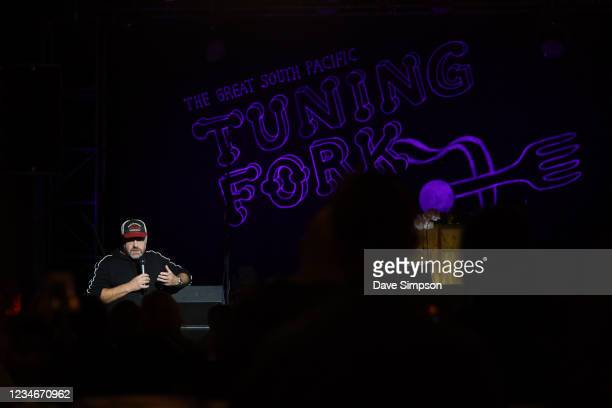 Stuart Clumpas, Executive Director at Spark Arena talks to the crowd at The Tuning Fork on May 30, 2020 in Auckland, New Zealand. As restrictions on...