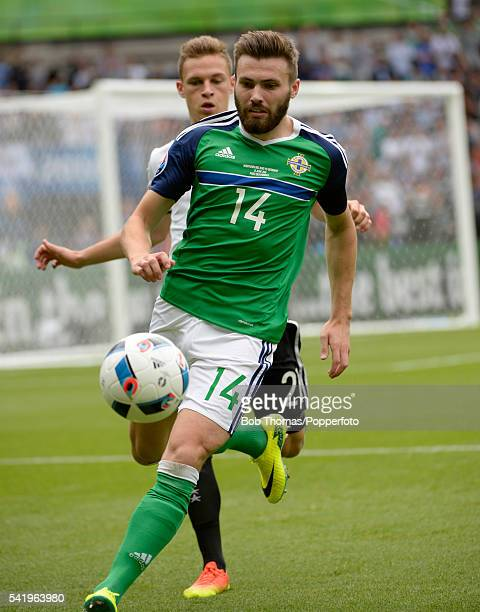 Stuart Dallas in action for Northern Ireland during the UEFA EURO 2016 Group C match between Northern Ireland and Germany at Parc des Princes on June...
