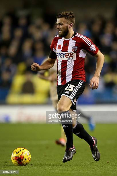 Stuart Dallas of Brentford in action during the Sky Bet Championship match between Millwall and Brentford at The Den on November 8 2014 in London...