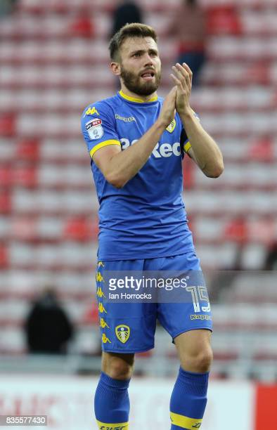 Stuart Dallas of Leeds during the Sky Bet Championship match between Sunderland and Leeds United at Stadium of Light on August 19 2017 in Sunderland...