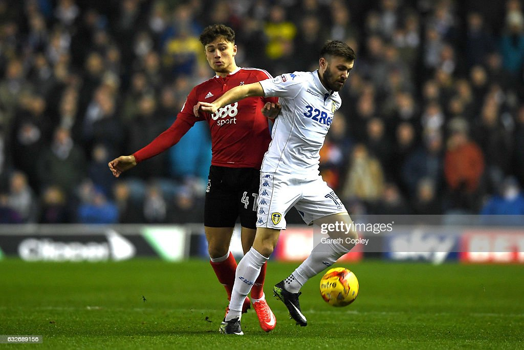 Stuart Dallas of Leeds United and Matty Cash of Nottingham Forest in action during the Sky Bet Championship match between Leeds United and Nottingham Forest at Elland Road on January 25, 2017 in Leeds, England.