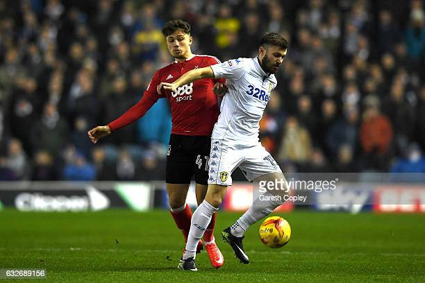Stuart Dallas of Leeds United and Matty Cash of Nottingham Forest in action during the Sky Bet Championship match between Leeds United and Nottingham...