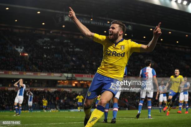 Stuart Dallas of Leeds United celebrates after scoring a goal to make it 01 during the Sky Bet Championship match between Blackburn Rovers and Leeds...