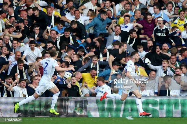 Stuart Dallas of Leeds United celebrates after scoring his team's first goal during the Sky Bet Championship Play-off semi final second leg match...