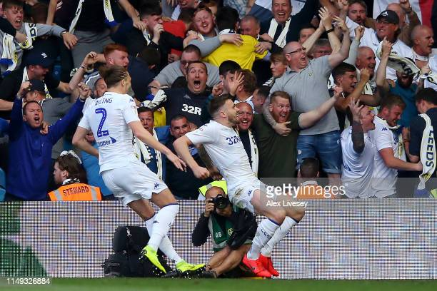 Stuart Dallas of Leeds United celebrates after scoring his team's first goal during the Sky Bet Championship Playoff semi final second leg match...