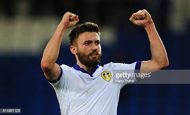 Stuart Dallas of Leeds United celebrates at the final whistle during the Sky Bet Championship match between Cardiff City and Leeds United at the...