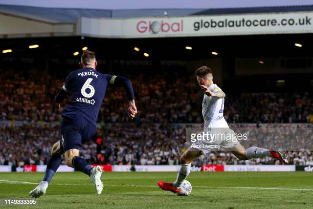 Stuart Dallas of Leeds United scores his team's second goal during the Sky Bet Championship Playoff semi final second leg match between Leeds United...