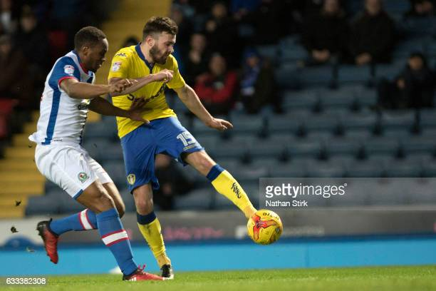 Stuart Dallas of Leeds United scores the opening goal during the Sky Bet Championship match between Blackburn Rovers and Leeds United at Ewood Park...