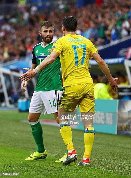 Stuart Dallas of Northern Ireland and Artem Fedetskiy of Ukraine argue during the UEFA EURO 2016 Group C match between Ukraine and Northern Ireland...