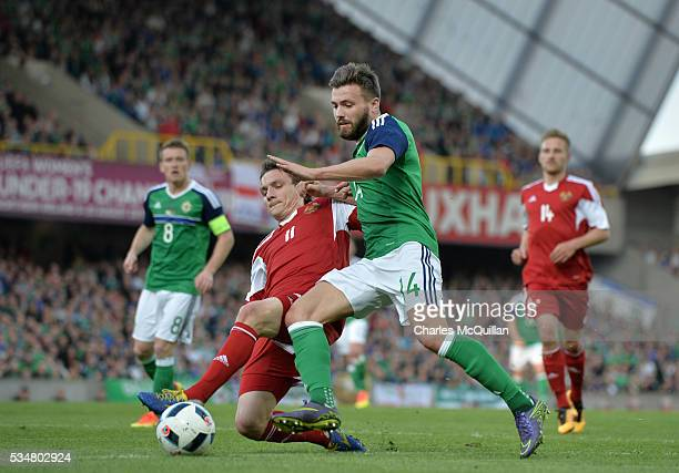Stuart Dallas of Northern Ireland and Mikhail Hardzeichuk of Belarus during the international friendly game between Northern Ireland and Belarus on...