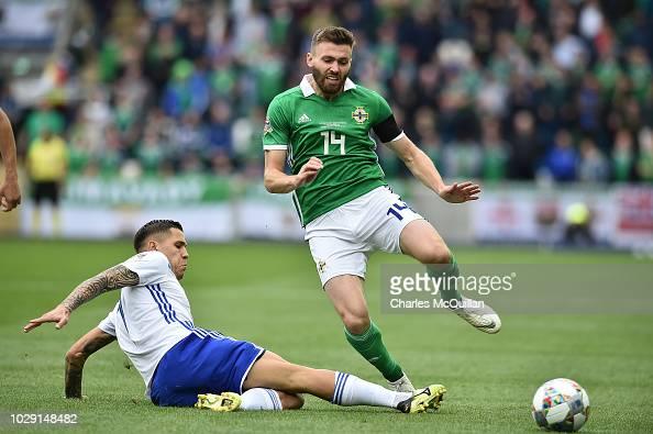 Stuart Dallas Of Northern Ireland And Muhamed Besic Of