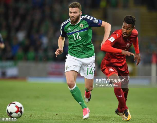Stuart Dallas of Northern Ireland and Theodor Gebre Selassie of Czech Republic during the FIFA 2018 World Cup Qualifier between Northern Ireland and...