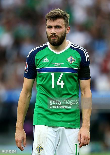 Stuart Dallas of Northern Ireland in action during the UEFA Euro 2016 Group C match between the Northern Ireland and Germany at Parc des Princes on...