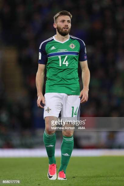 Stuart Dallas of Northern Ireland looks on during the FIFA 2018 World Cup Qualifier between Northern Ireland and Germany at Windsor Park on October 5...