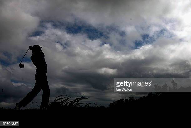 Stuart Davis of England tee's off on the 9th hole during the second round of the Madeira Island Open held on April 8 2005 at the Santo da Serra Golf...