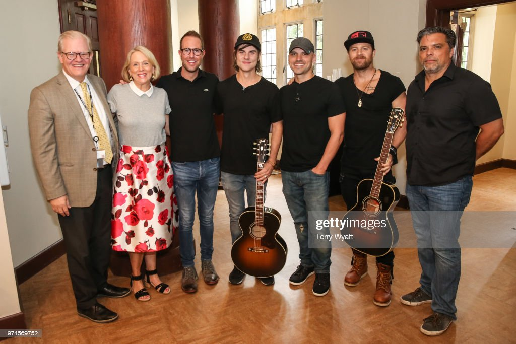 Stuart Dill, Elizabeth Roff, Tommy Moore, Ross Copperman, Jon Nite, Kip Moore and Shawn McSpadden attend the ACM Lifting Lives Music Camp Songwriting Workshop at Vanderbilt University on June 14, 2018 in Nashville, Tennessee.