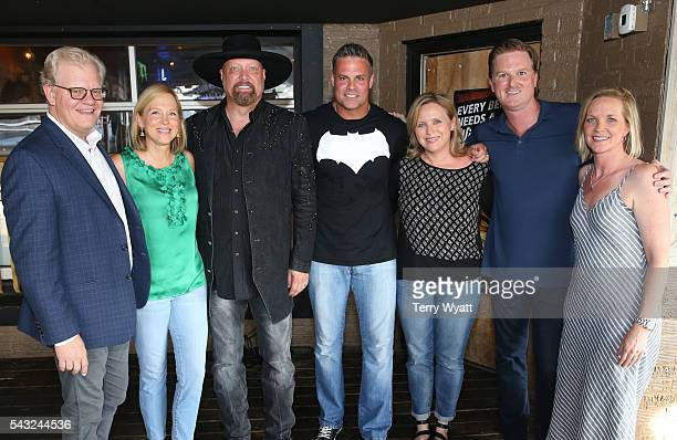Stuart DillElizabeth RoofEddie Montgomery and Troy Gentry of Montgomery Gentry Lisa LeeJohn Dennis and Alicia Lanier Jones attend karaoke Night with...