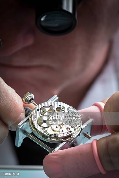 Stuart Duff head watchmaker at the Bremont Watch Comany builds a Bremont Wright Flyer wristwatch at the company's headquarters in HenleyonThames...