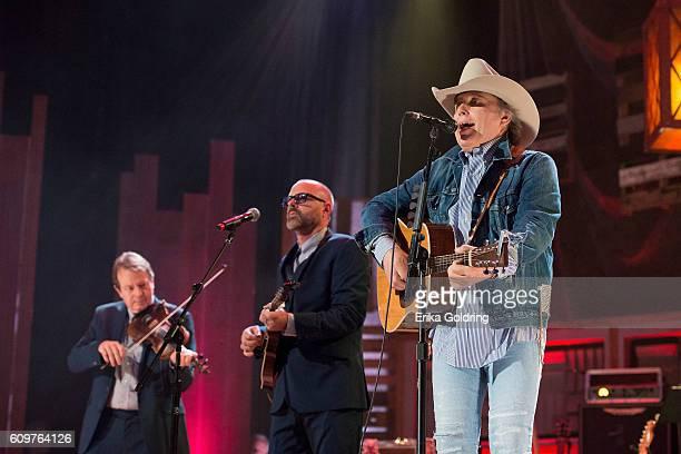 Stuart Duncan Jon Randall Stewart and Dwight Yoakam perform at Ryman Auditorium on September 21 2016 in Nashville Tennessee