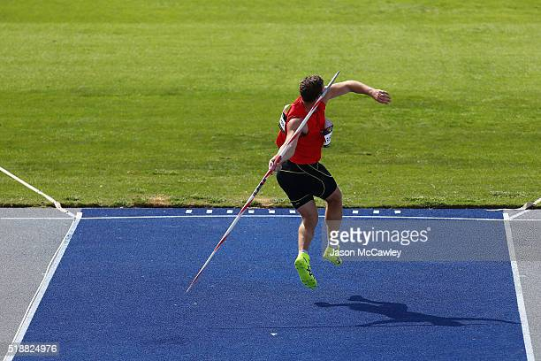 Stuart Farquhar of New Zealand competes in the mens javelin during the Australian Athletics Championships at Sydney Olympic Park on April 3 2016 in...