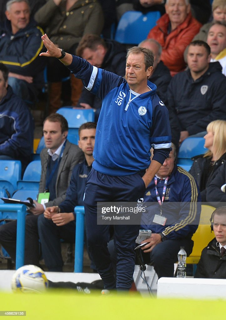 Stuart Gray, Manager of Sheffield Wednesday during the Sky Bet Championship match between Leeds United and Sheffield Wednesday at Elland Road on October 4, 2014 in Leeds, England.