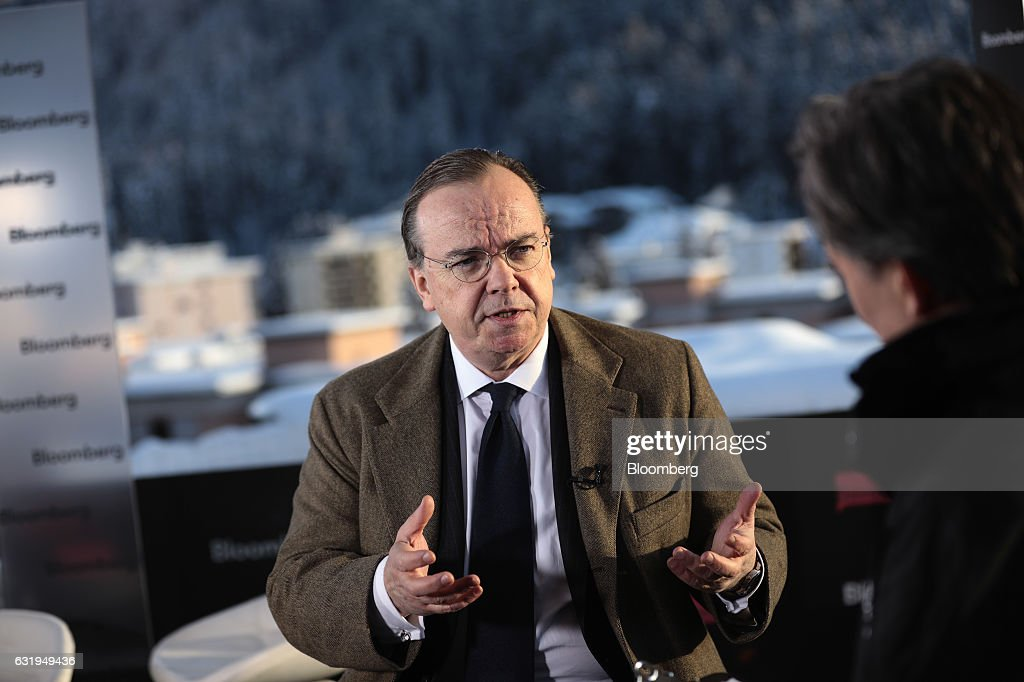 Stuart Gulliver, chief executive officer of HSBC Holdings Plc, gestures as he speaks during a Bloomberg Television interview during the World Economic Forum (WEF) in Davos, Switzerland, on Tuesday, Jan. 17, 2017. World leaders, influential executives, bankers and policy makers attend the 47th annual meeting of the World Economic Forum in Davos from Jan. 17 - 20. Photographer: Simon Dawson/Bloomberg via Getty Images