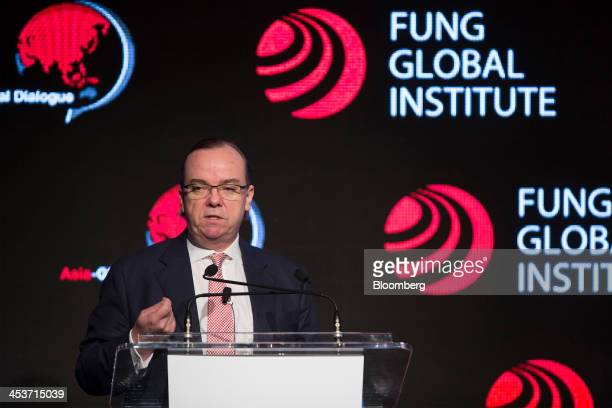 Stuart Gulliver chief executive officer of HSBC Holdings Plc speaks during the AsiaGlobal Dialogue conference in Hong Kong China on Thursday Dec 5...