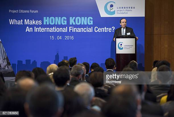 Stuart Gulliver chief executive officer of HSBC Holdings Plc speaks during a forum in Hong Kong China on Friday April 15 2016 Hong Kong is the...
